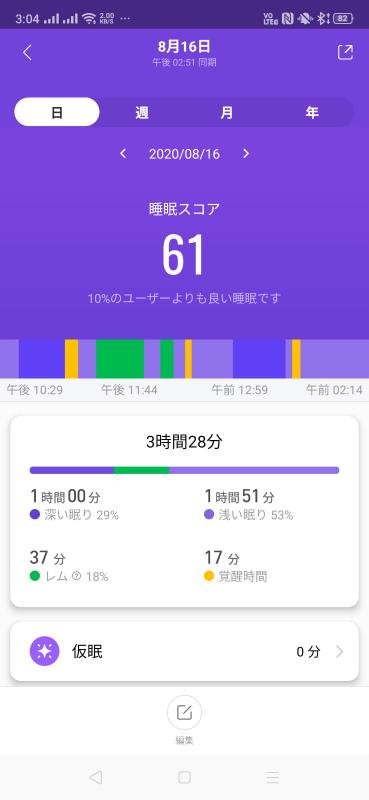 Mi Band 5睡眠計測画面